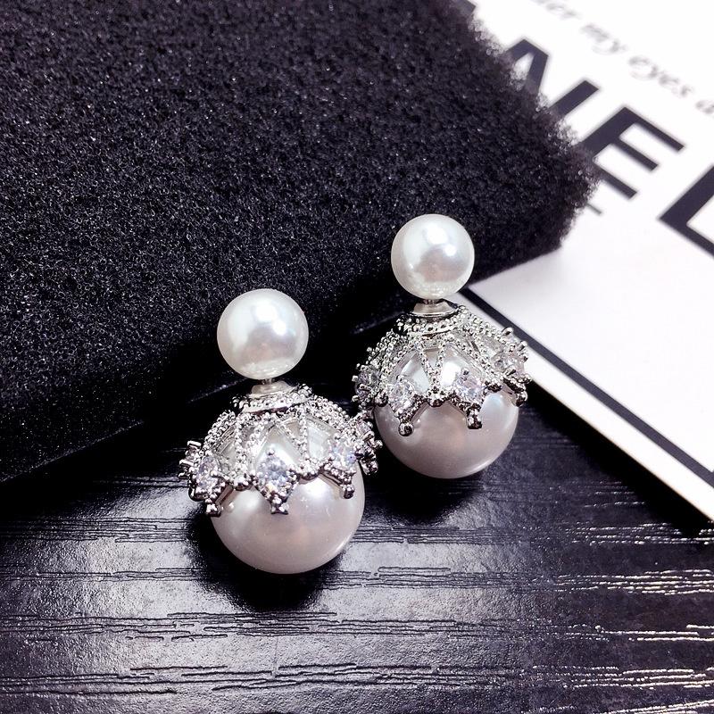 Fashion big pearl crown diamond earrings NHFT308228