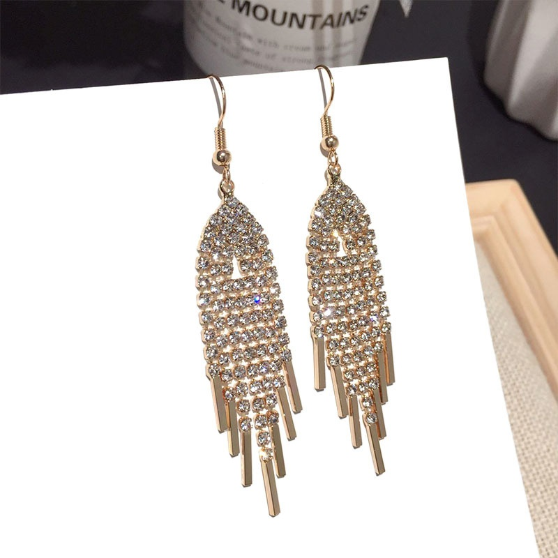 new fashion zircon tassel earrings NHFT308231