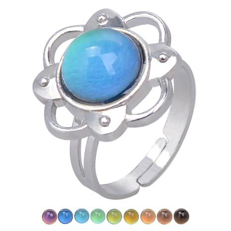 flower gemstone temperature-sensing color change opening ring  NHBI308236's discount tags