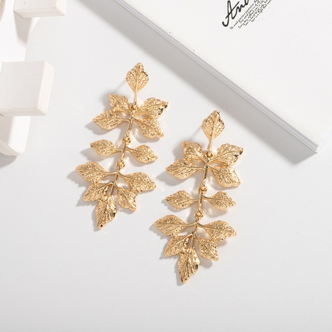 Korean simple trendy gold leaf earrings NHAI308244's discount tags