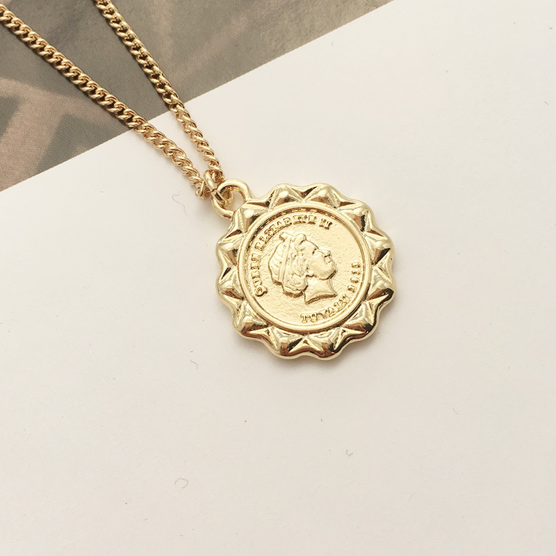 Korea fashion retro gold coin necklace  NHAI308264