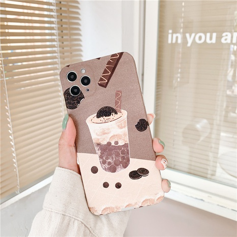 Cas de téléphone portable de thé de lait de perle de biscuit de bande dessinée pour iPhone8plus XR NHFI308363's discount tags