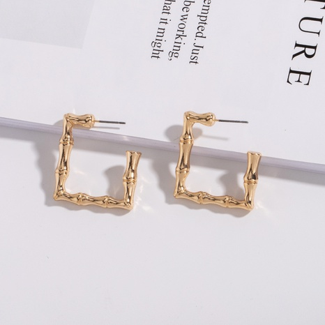 bamboo golden square earrings NHAI308463's discount tags