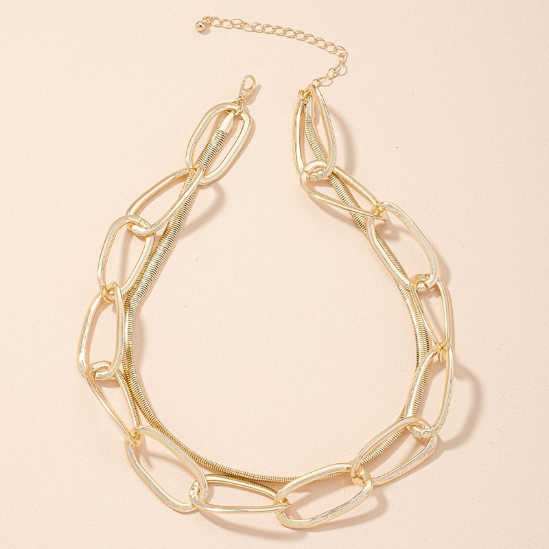 simple exaggerated fashion snake bone chain necklace  NHAI308475