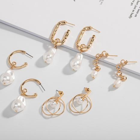 einfache Metallmode Perlenohrringe NHAI308500's discount tags