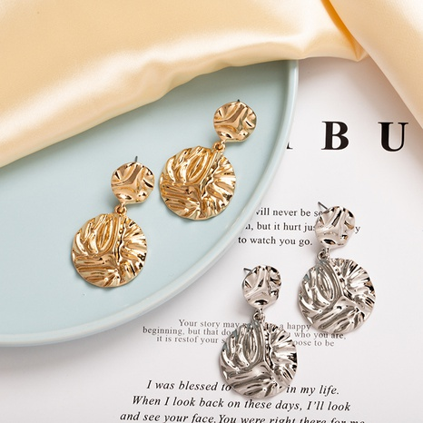 fashion metal double round earrings wholesale NHAI308542's discount tags