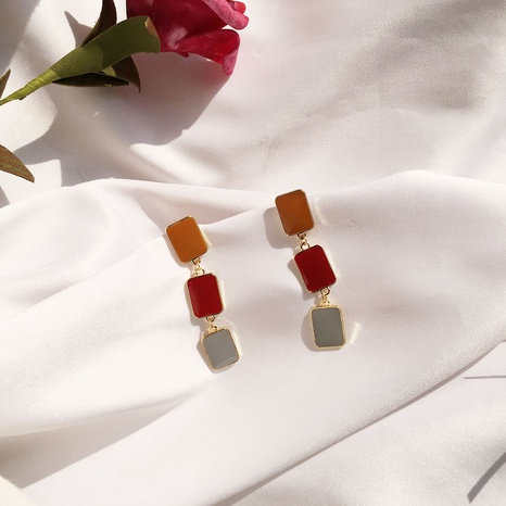 long simple square contrast color glaze earrings NHAI308546's discount tags