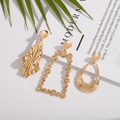 fashion pleated surface alloy earrings NHAI308560's discount tags