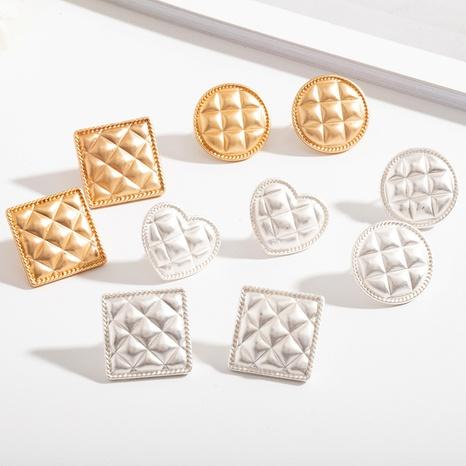 retro square peach heart geometric earrings NHAI308565's discount tags