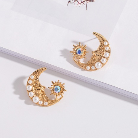 Mode Moon Diamond Pearl Ohrringe NHAI308569's discount tags