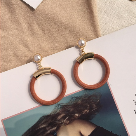 wooden circle stitching earrings wholesale NHAI308574's discount tags