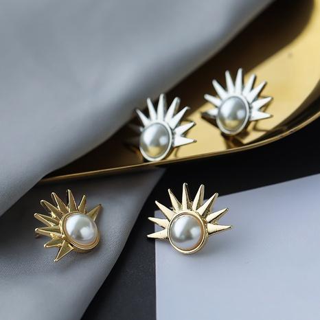 Großhandel neue Mode Metall Sonnenblumen Perle Ohrringe NHAI308594's discount tags
