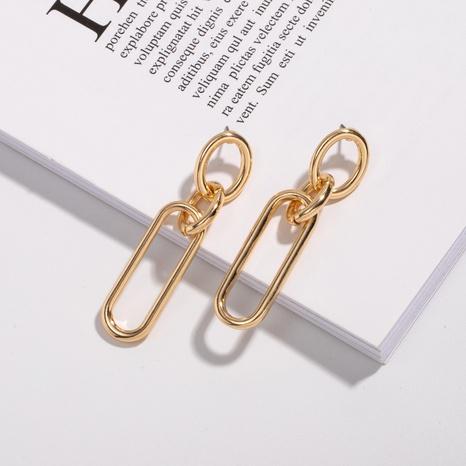 Korean simple metal oval chain earrings NHAI308606's discount tags