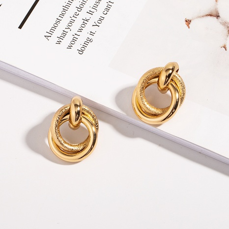 alloy cross round frosted earrings  NHAI308612's discount tags