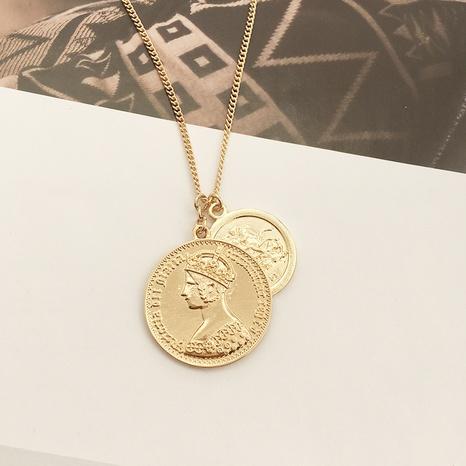 retro portrait double pendant coin necklace NHAI308623's discount tags