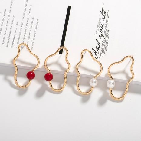 einfache unregelmäßige Perlenohrringe aus Metall NHAI308624's discount tags