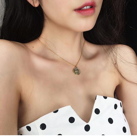 fashion retro portrait gold coin necklace NHAI308638's discount tags