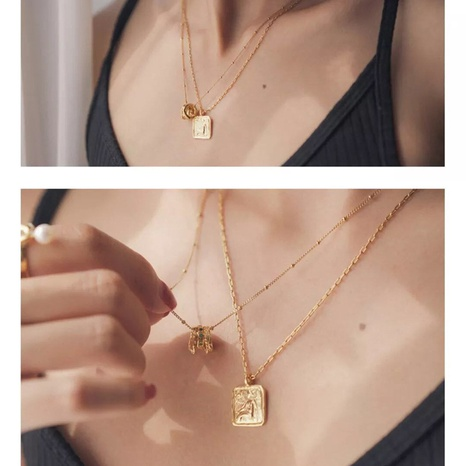 fashion square coin necklace NHAI308650's discount tags