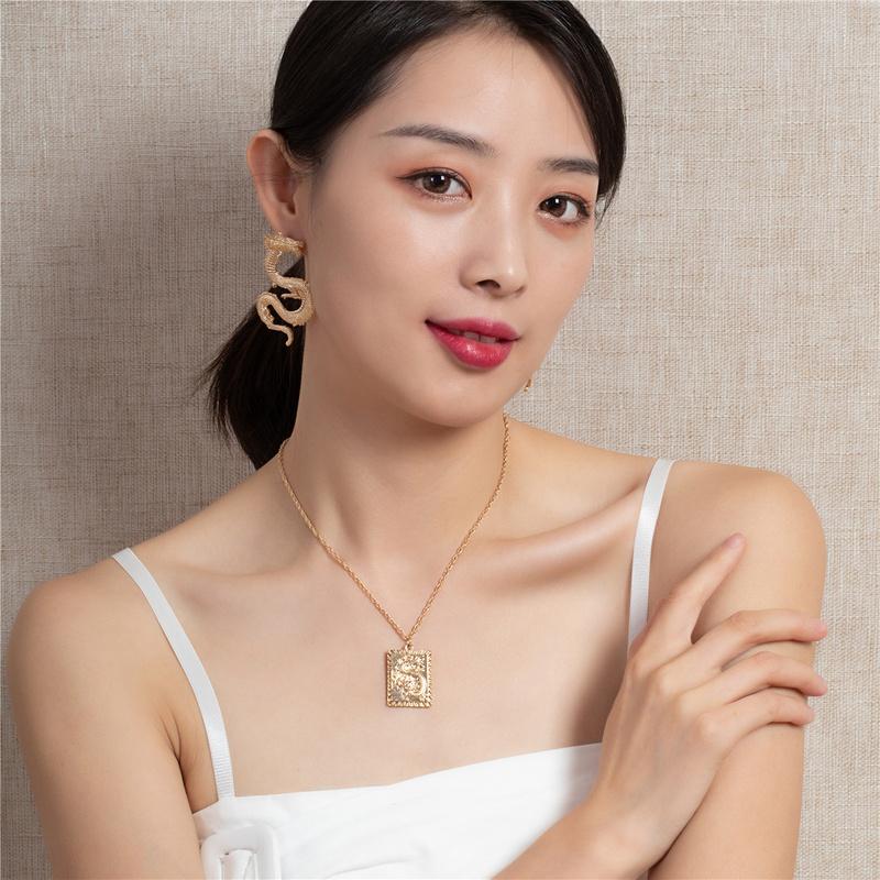 popular metal zodiac dragon earrings fashion necklace  NHQJ308675