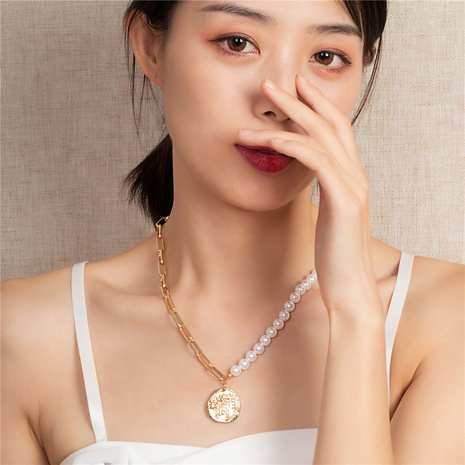 retro fashion coin pearl shell necklace NHQJ308685's discount tags