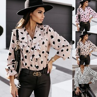 V-neck ruffled button long-sleeved printed shirt NHUO308747