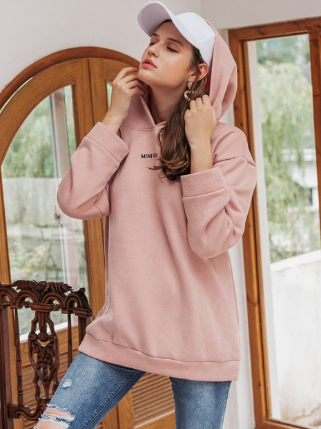 New youth hooded pink sweater NHDE308711's discount tags