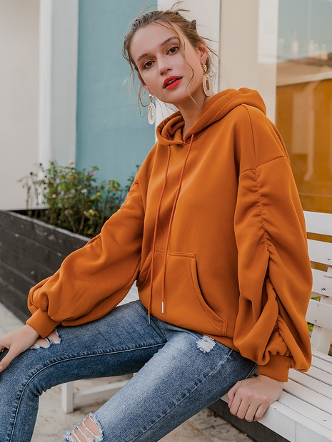 New fashion loose orange Hoodie sweater NHDE308716's discount tags
