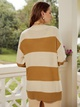 fashion yellow stripe long cardigan sweater NHDE308733