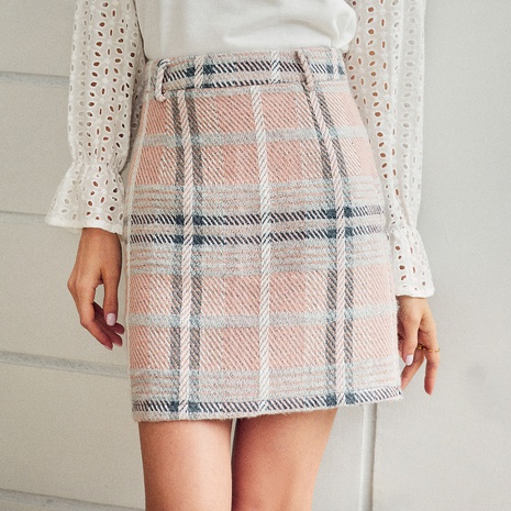 fashion lattice short skirt NHDE308734's discount tags