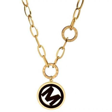 fashion simple M letter pendant necklace NHSC308764's discount tags