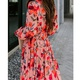 Autumn and winter long-sleeved V-neck plaid printed floral dress NHIS309154