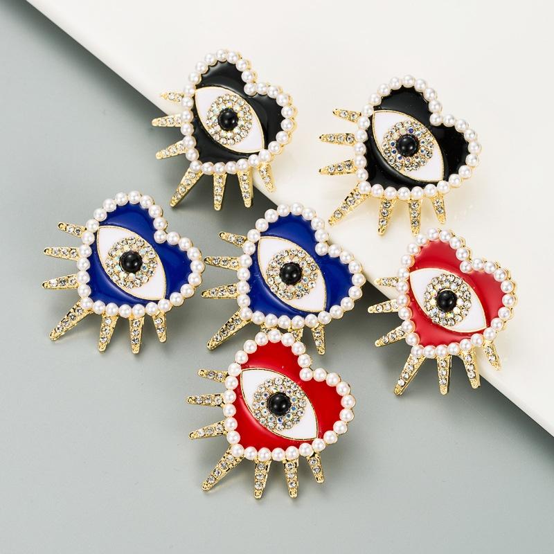 fashion exaggerated diamondstudded oil drop pearl love earrings NHLN309197