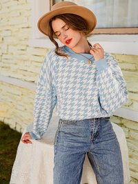 Blue stripped cotton sweater for women  NHDE309204