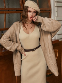 Fashionable all-match solid color medium length coat NHDE309228