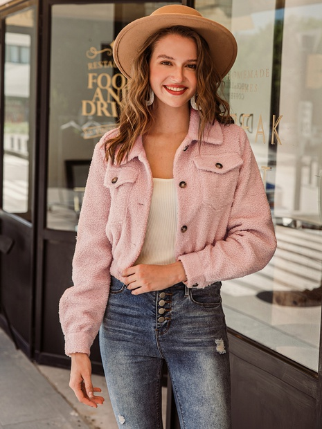 fashion retro solid color short jacket NHDE309230
