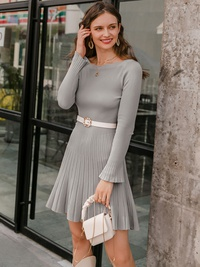 long sleeves solid color short dress NHDE309232