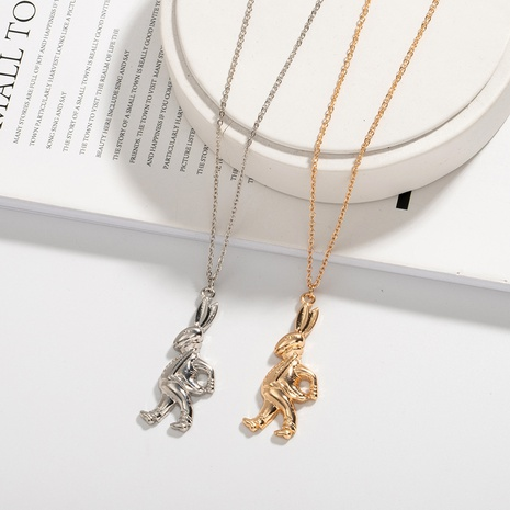 exaggerated retro Rabbit necklace NHAI309242's discount tags