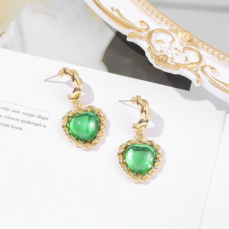 Retro grüne herzförmige Ohrringe NHLL309290's discount tags