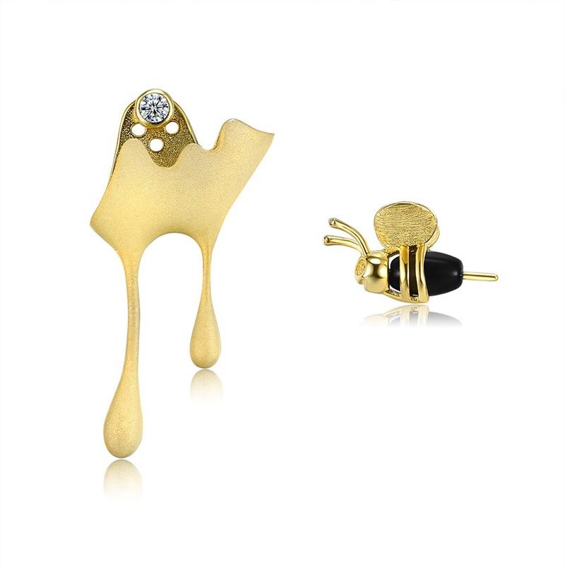 S925 Sterling Silver Bee Dripping Honey Asymmetrical Stud Earrings NHKL309297