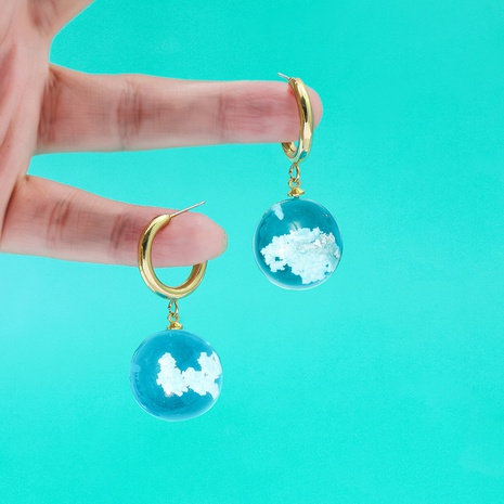 blue sky and white clouds luminous resin ball earrings NHLL309328's discount tags