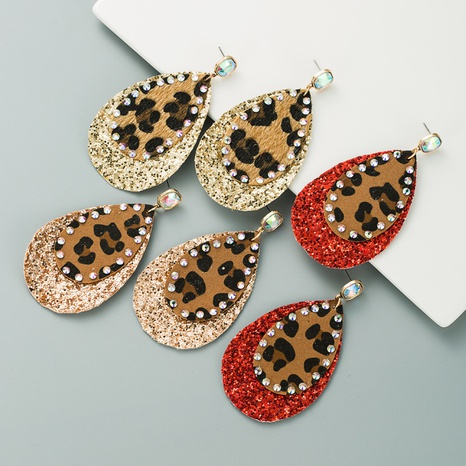 leather leopard sequin earrings  NHLN309329's discount tags