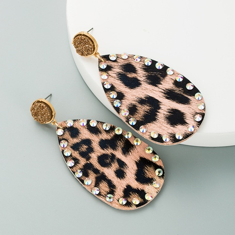 creative leather double-sided leopard print earrings NHLN309331's discount tags