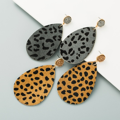 alloy leather crystal bud earrings NHLN309333's discount tags