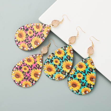 Bohemian style bright leather sunflower earrings NHLN309336's discount tags