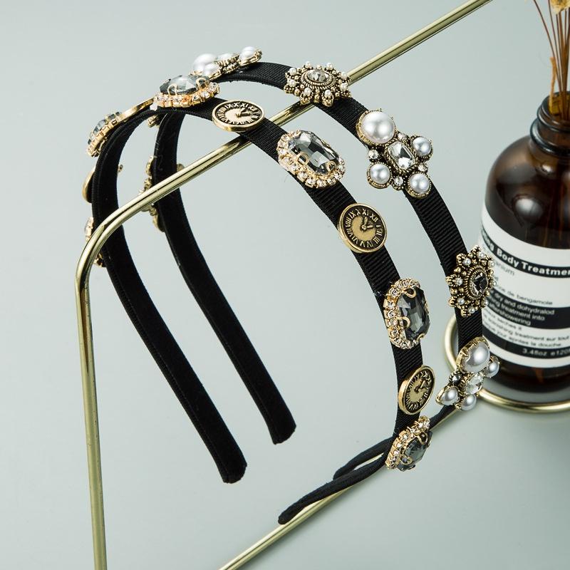New simple fashion alloy pearl rhinestone headband NHLN309339