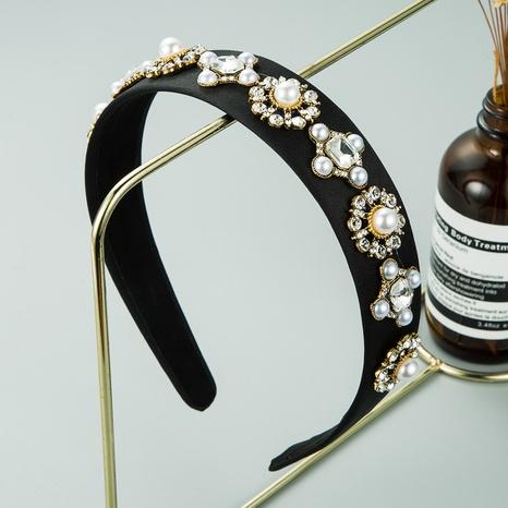 Baroque style black fabric flower alloy inlaid pearl headband NHLN309340's discount tags