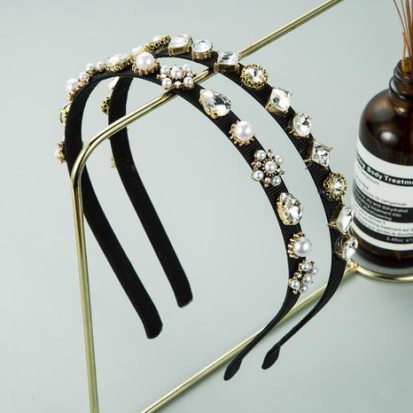 new retro baroque alloy diamond-studded pearl headband  NHLN309344's discount tags