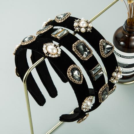 retro black flannel pearl headband  NHLN309346's discount tags