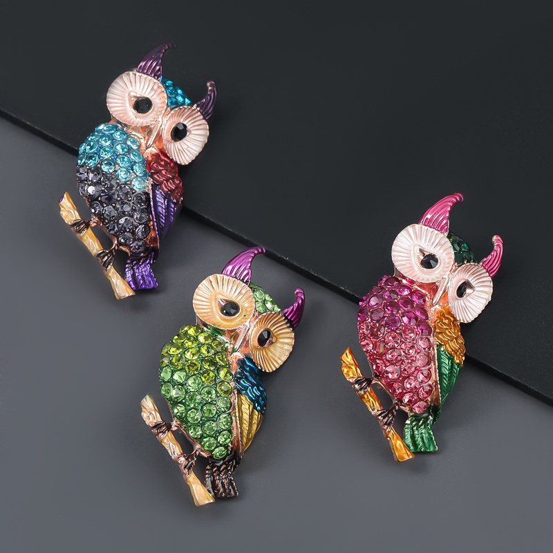 alloy oilstudded owl brooch  NHJE309355