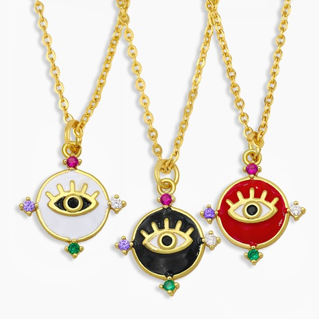 new simple micro-inlaid zircon drip oil eye necklace NHAS309381's discount tags